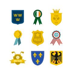 emblem icon set flat style vector image vector image