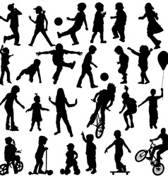 Group of active children hand drawn sillhouettes vector image vector image