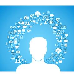 Active social media man vector image
