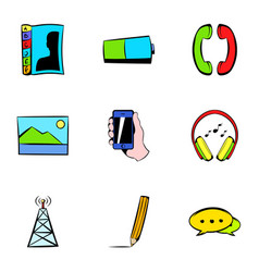 antenna icons set cartoon style vector image vector image