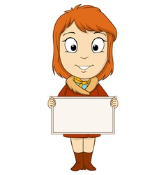 Cartoon young woman with empty board vector image vector image