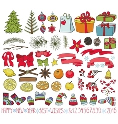 Christmas decoration kitColored Doodles vector image vector image