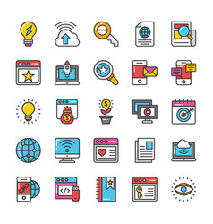 digital and internet marketing icons set 7 vector image