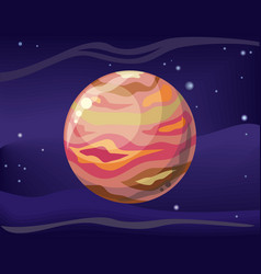 planet jupiter in space background vector image vector image