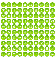100 human health icons set green circle vector
