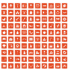 100 nursery school icons set grunge orange vector