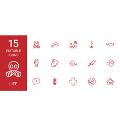 15 life icons vector image