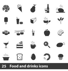 25 simple food icons set vector image