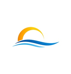 abstract water beach sunset logo vector image