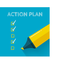 Action plan concept design with yellow pencil or vector image