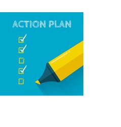 Action plan concept design with yellow pencil vector