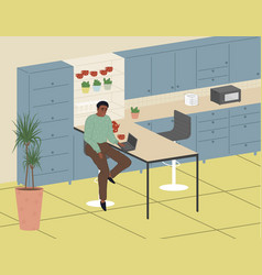 african american freelancer men work from home vector image