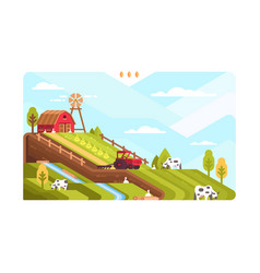Agricultural farm with fields and livestock vector