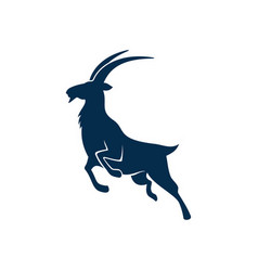 Antelope wild goat or gazelle silhouette isolated vector