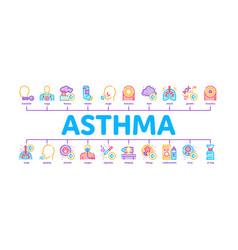 Asthma sick allergen minimal infographic banner vector