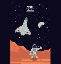 astronaut in mars with spaceship vector image