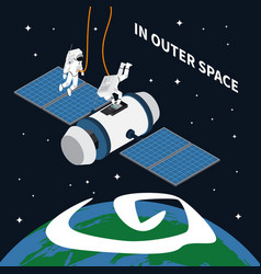 Astronaut outer space background vector