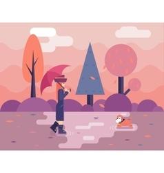 Autumn walk with dog puddles umbrella nature park vector image