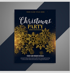Awesome christmas flyer brochure with golden vector