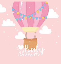 baby shower flying hot air balloon sky welcome vector image