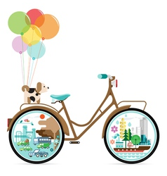 Bicycle with green city vector image
