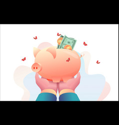 big hands ceo head are holding piggy bank vector image
