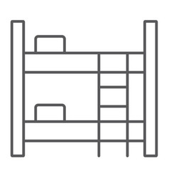 bunk bed thin line icon furniture and home bed vector image