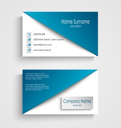 Business card with blue white background template vector