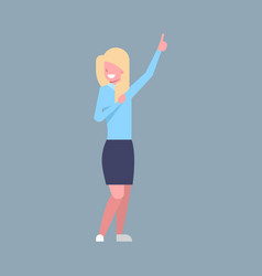 business woman point finger up female office vector image