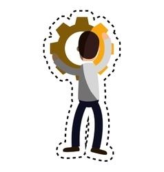 Businessman character avatar with gear vector