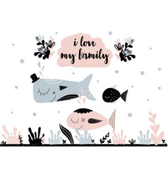 card with calligraphy lettering i love my family vector image