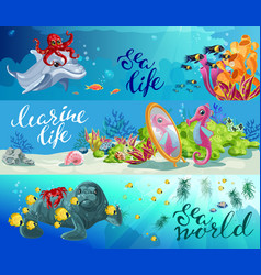 Cartoon colorful sea animals horizontal banners vector