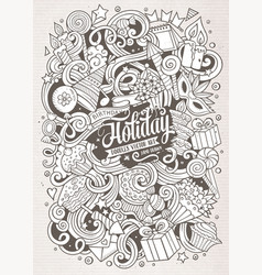 Cartoon hand-drawn doodles holidays vector