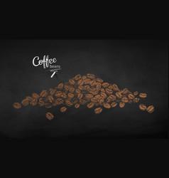 Chalk drawn sketch pile coffee beans vector
