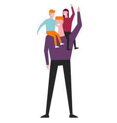children riding on father shoulders vector image