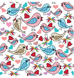 Colorful doodle hand drawn birds love hearts vector
