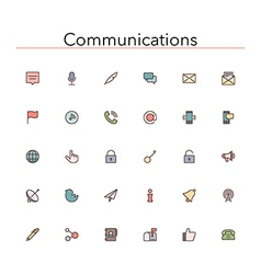 Communications colored line icons vector