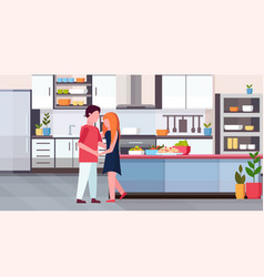couple dancing together happy valentines day vector image