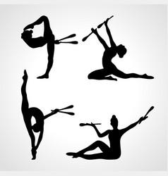 creative silhouettes 4 gymnastic girl vector image