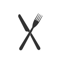 crossed fork and knife icon isolated restaurant vector image