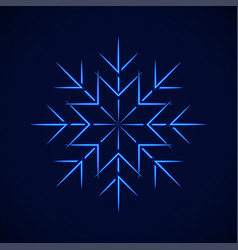 crystal blue simple snowflake on blue vector image