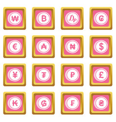 currency from different countries icons pink vector image