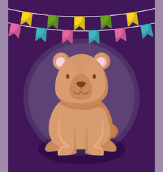 cute bear with garlands hanging vector image