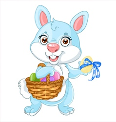 Cute easter bunny with basket of eggs vector image