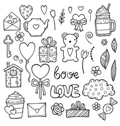 cute romantic stickers set for valentine day vector image