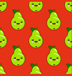 cute seamless pattern with smiley green pears in vector image