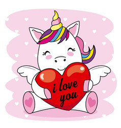 Cute unicorn hugging a heart vector