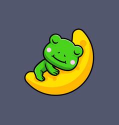 Design cute frog sleeping on moon vector