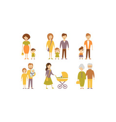 different families set mother father son vector image