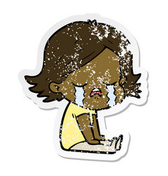 Distressed sticker of a cartoon girl crying sat vector